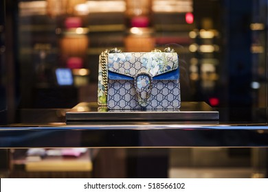 Bucharest, Romania - November 9, 2016: Gucci purses in a storefront in Bucharest.