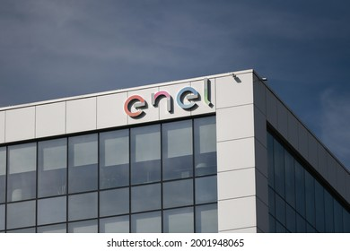 Bucharest, Romania - Oct 03, 2020: Enel sign displayed at their offices in Bucharest, Romania. Enel Group, is an Italian multinational energy company