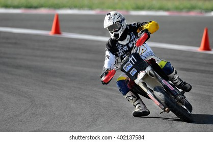 BUCHAREST, ROMANIA - OCT 04: An unidentified rider participates in the Romanian Supermoto Championship on Oct 04, 2015 at Crevedia in Bucharest, Romania