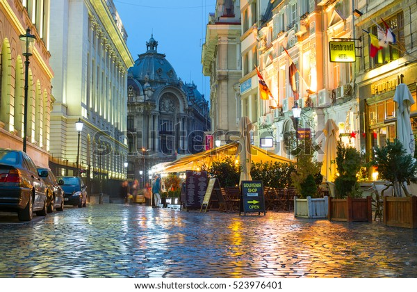 BUCHAREST, ROMANIA - OCT 10, 2016: Old Town of Bucharest. The Old Town part of Bucharest, also called Lipscani after the main street that crosses the area.