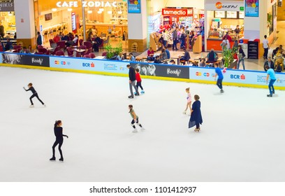 BUCHAREST, ROMANIA - OCT 14, 2016: People at ice rink at Controceni shopping mall in Bucharest