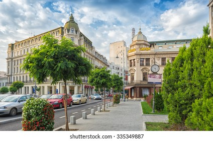 BUCHAREST, ROMANIA - OCTOBER 01, 2015: Hotel Capsa a welcoming place for romanian writers and Hotel Capitol on famous Victory Avenue (Calea Victoriei) in an early autumn day