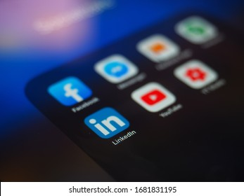 Bucharest, Romania - October 02, 2019: Linkedin app near social media applications are trending and both business as consumer are using it for information sharing and networking.