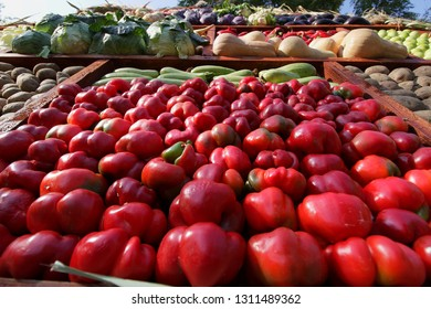 Bucharest, Romania - October 10, 2018: Ruffled peppers for sale on the street market stall, in Bucharest, Romania.