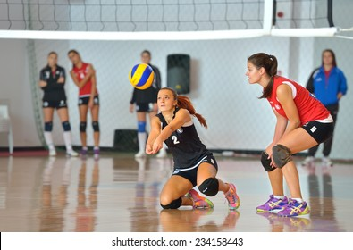 BUCHAREST, ROMANIA - OCTOBER 10:Loredana Dancu, libero player of CSU Cluj during the match with CSM Bucharest, in Romanian Volleyball National Championship October 10, 2014 in Bucharest, Romania