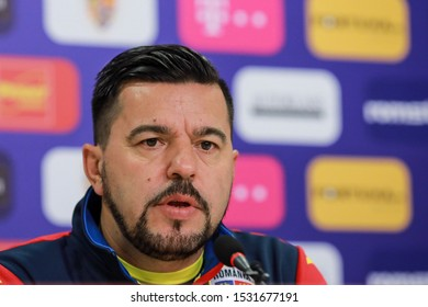 Bucharest, Romania - October 14, 2019: Romania coach Cosmin Contra during a press conference before the Euro 2020 game with Norway.