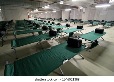 Bucharest, Romania - October 15, 2018: Many beds placed in the basement of the National Arena during an IGSU emergency exercise to rescue people at earthquake are presented to the press, in Bucharest.