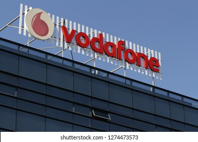 Bucharest, Romania -  October 17, 2018: A logo of Vodafone, British telecommunications company, is displayed on top of a building, in 'Pipera' the districts with the fastest development in Bucharest.