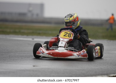 BUCHAREST, ROMANIA - OCTOBER 17: ANDREI VAJDA competing in FRAS Dunlop Karting Championship. Stage 3. October 17, 2010 in Bucharest, Romania.