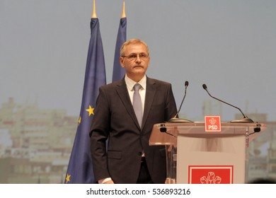 BUCHAREST, ROMANIA - October 18, 2015: Liviu Dragnea, President of Social Democrat Party speaks at the National Congress.