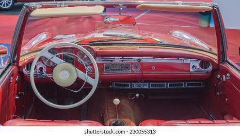 Bucharest, Romania - October  19, 2012 : Bucharest SAB expo; interior of a convertible car