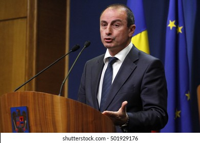 BUCHAREST, ROMANIA - OCTOBER 19, 2016: Romanian Minister of Agriculture and Rural Development, Achim Irimescu speaks at a press conference at Victoria Palace.