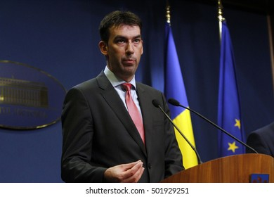 BUCHAREST, ROMANIA - OCTOBER 19, 2016: Romanian Minister of Internal Affairs, Dragos Tudorache speaks at a press conference at Victoria Palace.