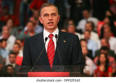 Bucharest, Romania, October 2, 2009: Politician Mircea Geoana participates to the presidential campaign rally of Romanian Social Democrat Party in Bucharest.