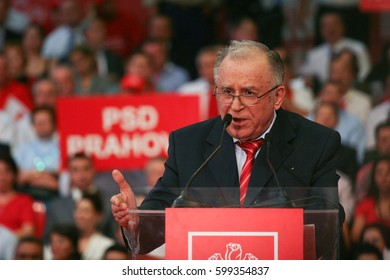 Bucharest, Romania, October 2, 2009: Politician Ion Iliescu participates to the presidential campaign rally of Romanian Social Democrat Party in Bucharest.