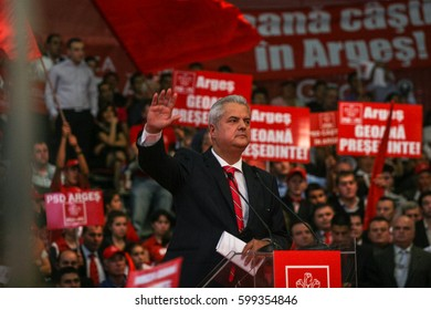 Bucharest, Romania, October 2, 2009: Politician Adrian Nastase participates to the presidential campaign rally of Romanian Social Democrat Party in Bucharest.