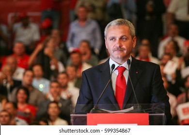 Bucharest, Romania, October 2, 2009: Politician Liviu Dragnea participates to the presidential campaign rally of Romanian Social Democrat Party in Bucharest.