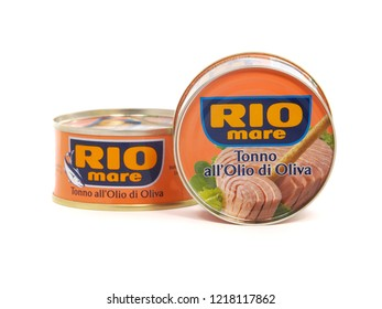 BUCHAREST, ROMANIA - OCTOBER 20, 2018. Rio Mare can of tuna fish in olive oil. Rio Mare is an italian company specialized in sea food.