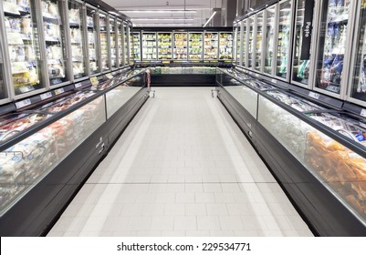 BUCHAREST, ROMANIA - OCTOBER 22, 2014: Commercial refrigerators in a large supermarket