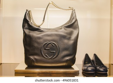 Bucharest, Romania - October 23, 2013: Handbags and shoes in a Gucci store.