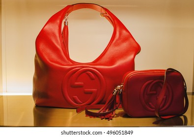 Bucharest, Romania - October 23, 2013: Handbags in a Gucci luxuty store.