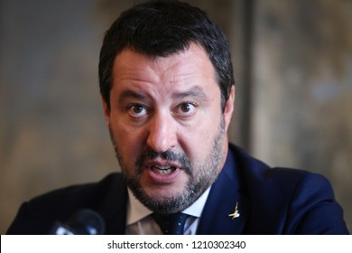 BUCHAREST, ROMANIA - October 23, 2018: Matteo Salvini, Deputy Prime Minister of Italy and Minister of the Interior, holds a press briefing at the Italian embassy in Bucharest