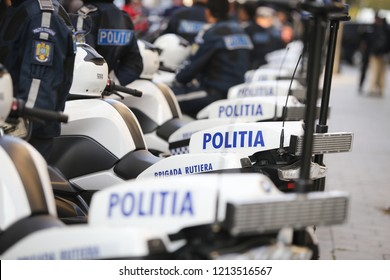 BUCHAREST, ROMANIA - October 23, 2018: BMW police motorcycles for the Romanian police force