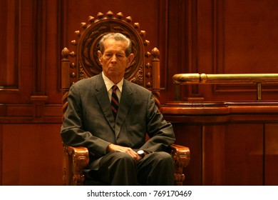 BUCHAREST, ROMANIA - OCTOBER 25, 2011: King Michael of Romania during the first speach in front of Romanian Parliament in Bucharest.