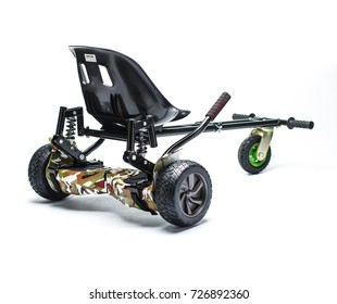 BUCHAREST, ROMANIA, - October 26, 2017: Hoverboard seat kart kit accesory isolated on white background. Editorial content.