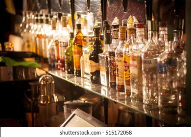 Bucharest, Romania - October 29, 2016: Image of various alcohol bottles in a pub in Bucharest, Romania.