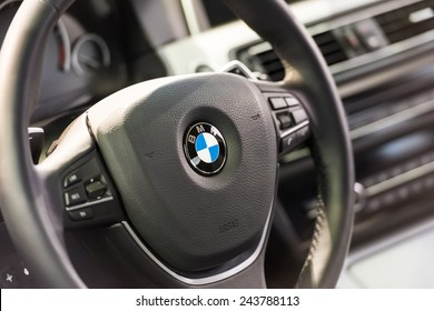 BUCHAREST, ROMANIA - OCTOBER 30, 2014: BMW Car Inside View. Bayerische Motoren Werke AG commonly known as BMW is a German automobile, motorcycle and engine manufacturing company founded in 1916.