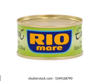 BUCHAREST, ROMANIA - OCTOBER 30, 2019. Rio Mare can of tuna fish in extra virgin olive oil. Rio Mare is an Italian company specialized in sea food.
