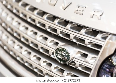BUCHAREST, ROMANIA - OCTOBER 31, 2014: Land Rover Sign Close Up. Founded in 1948 is a brand of the British car manufacturer Jaguar Land Rover, which specializes in four-wheel-drive vehicles.