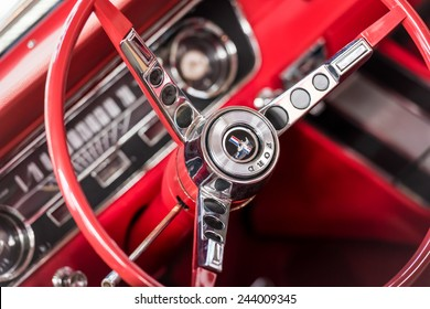 BUCHAREST, ROMANIA - OCTOBER 31, 2014: 1967 Ford Mustang Car Interior. The Ford Mustang is an automobile manufactured by the Ford Motor Company and was introduced on April 17, 1964.