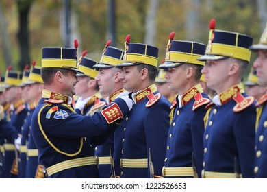 BUCHAREST, ROMANIA - October 31, 2018: Romanian Michael the Brave 30th Guards Brigade soldiers during an official state visit