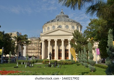 Bucharest, Romania - September 09, 2017: Romanian Athenaeum, landmark of Romanian capital city and home of the famous `George Enescu` festival of classical music.