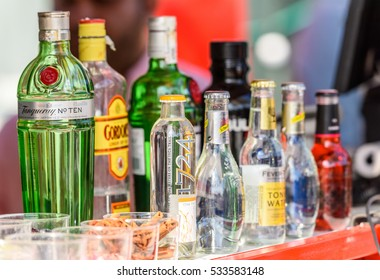 BUCHAREST, ROMANIA - SEPTEMBER 11, 2016: Alcohol Bottles On Drink Bar At Street Food Van.