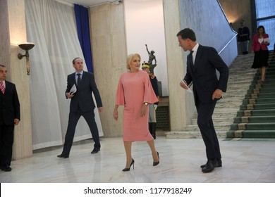 Bucharest, Romania - September 12, 2018: Dutch Prime Minister Mark Rutte and his Romania counterpart Viorica Dancila during the joint press conference at Victoria Palace in Bucharest.