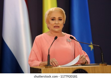 Bucharest, Romania - September 12, 2018: Viorica Dancila, Prime Minister of Romania, speaks during the joint press conference with her Dutch counterpart Mark Rutte at Victoria Palace in Bucharest.