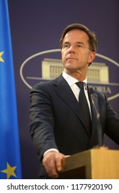 Bucharest, Romania - September 12, 2018: Dutch Prime Minister Mark Rutte, speaks during the joint press conference with his Romania counterpart Viorica Dancila at Victoria Palace in Bucharest.