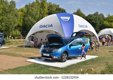 Bucharest, Romania - September 2, 2018: Auto show of Romanian car manufacturer Dacia, which celebrated 50 years from the moment it`s first car was produced. Dacia Sandero Stepway model exposed.