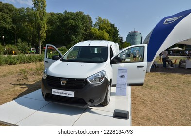 Bucharest, Romania - September 2, 2018: Auto show of Romanian car manufacturer Dacia, which celebrated 50 years from the moment it`s first car was produced. Dacia Dokker Van model exposed.