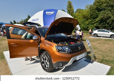 Bucharest, Romania - September 2, 2018: Auto show of the Romanian manufacturer Dacia, which celebrated 50 years from the day first car was build. Dacia Duster, all wheel car, exposed.