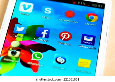 BUCHAREST, ROMANIA - SEPTEMBER 20, 2014: Social media are trending and both business as consumer are using it for information sharing and networking