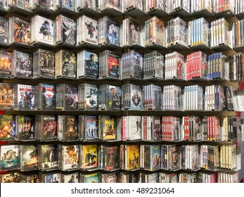 BUCHAREST, ROMANIA - SEPTEMBER 20, 2016: Classic And New Hollywood Production Movies On Dvd For Sale In Entertainment Center.