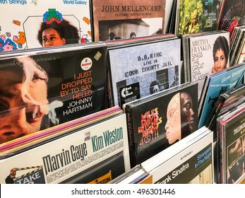BUCHAREST, ROMANIA - SEPTEMBER 20, 2016: Vinyl Records Featuring Famous Jazz Music For Sale In Music Media Shop.