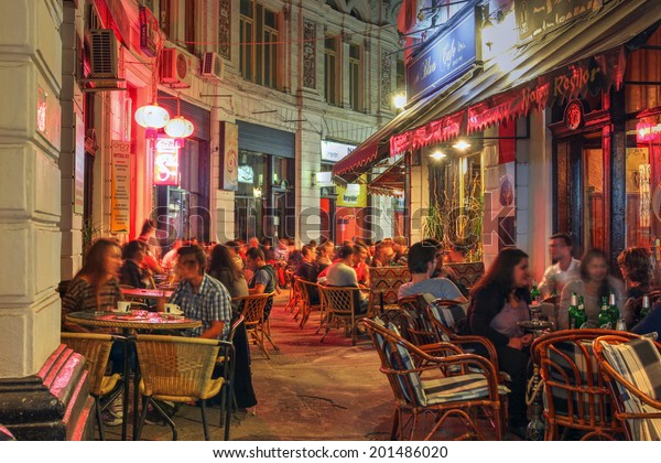 BUCHAREST, ROMANIA - SEPTEMBER 20: Night scene of the Macca-Vilacrosse Passage in the old town of Bucharest, Romania on September 20, 2013. The historical passage today hosts several establishments.