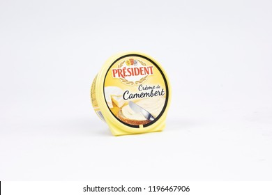 Bucharest / Romania - September, 2018: Box of President 8oz Camembert Soft-Ripened Cheese is creamy in texture and bold in taste. Founded by André Besnier in 1933 in the town of Laval, France.