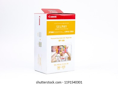 "Bucharest / Romania - September, 2018: Canon Selphy RP-108 Color Ink/Paper Set of 108 high-capacity postcard-size 100 x 148mm (4x6"") prints, used commonly in albums and photo frames."