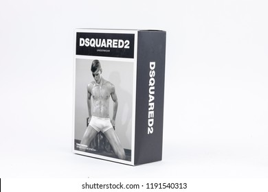 Bucharest / Romania - September, 2018: DSquared2 Underwear box of two pack boxer trunk jersey cotton stretch.